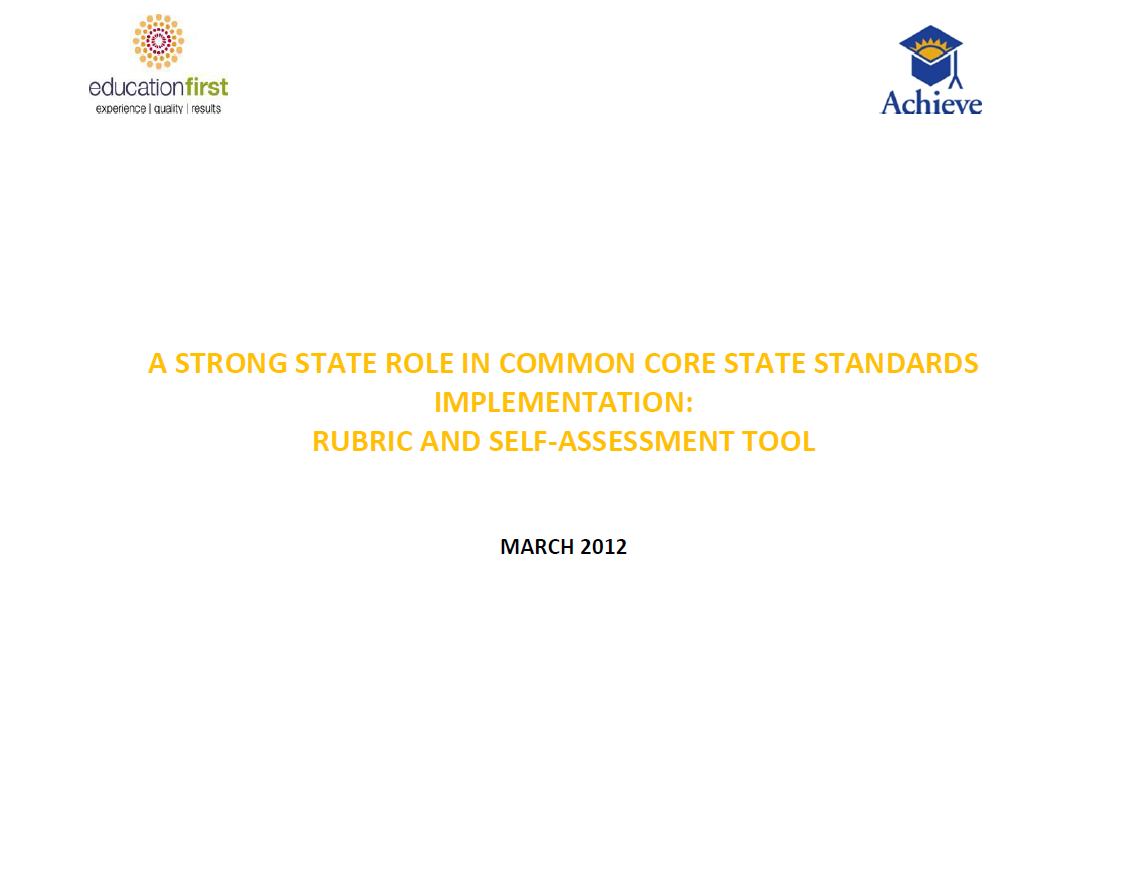 Cover of Common Core State Standards Implementation Rubric and Self-Assessment Tool