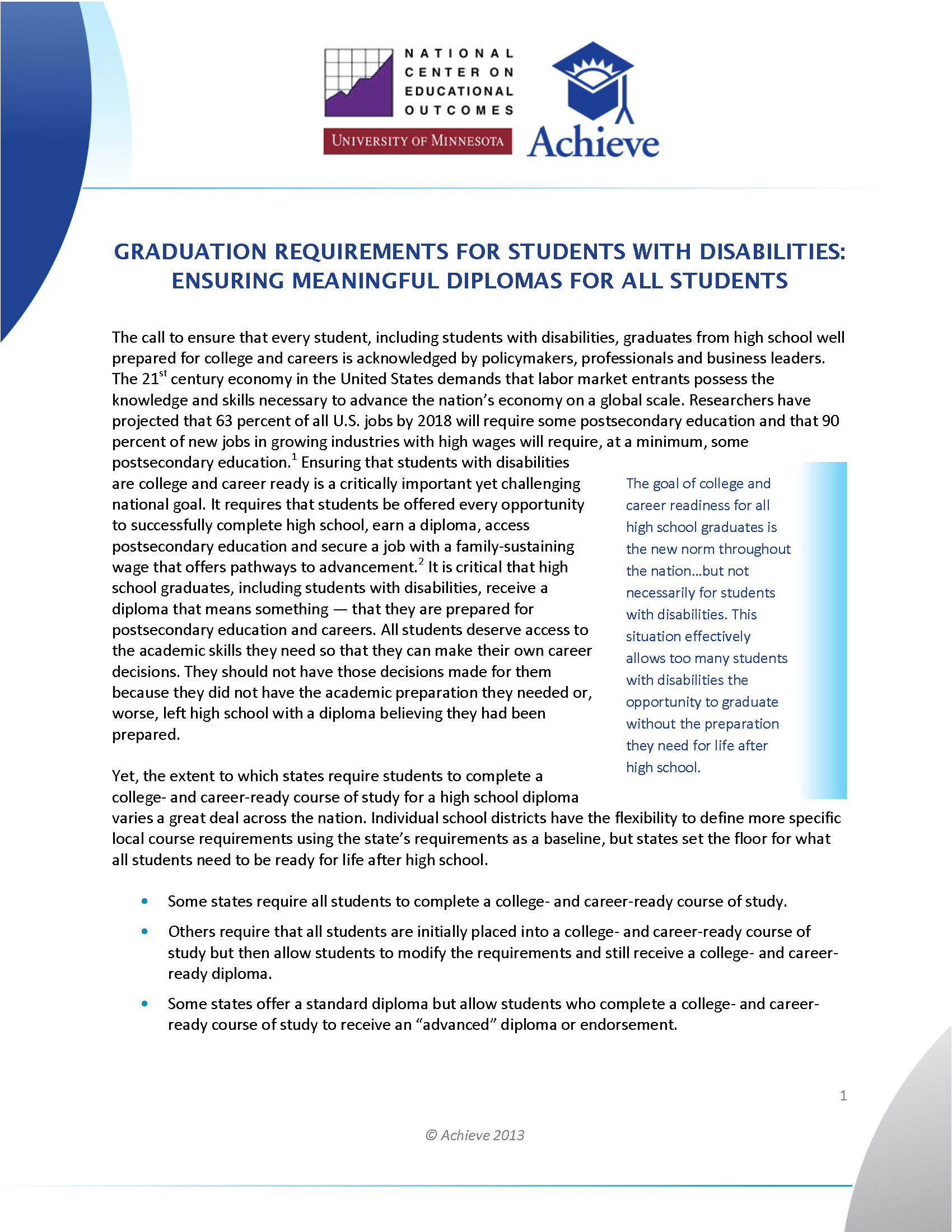 Cover of Graduation Requirements for Students with Disabilities: Ensuring Meaningful Diplomas for All Students