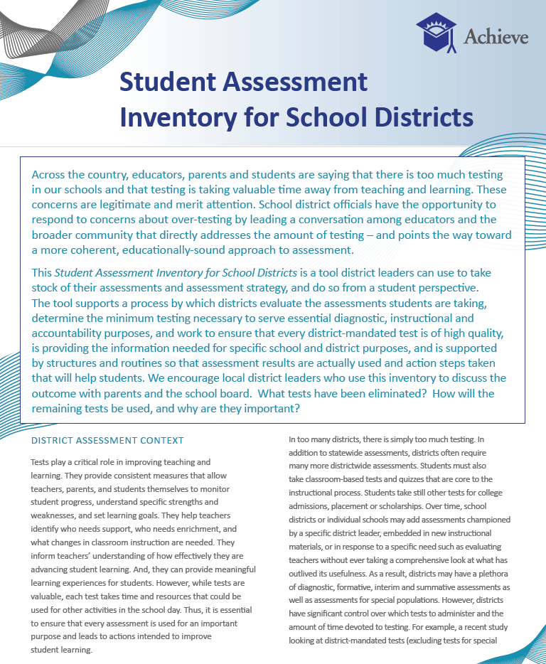 Student Assessment Inventory for School Districts Cover