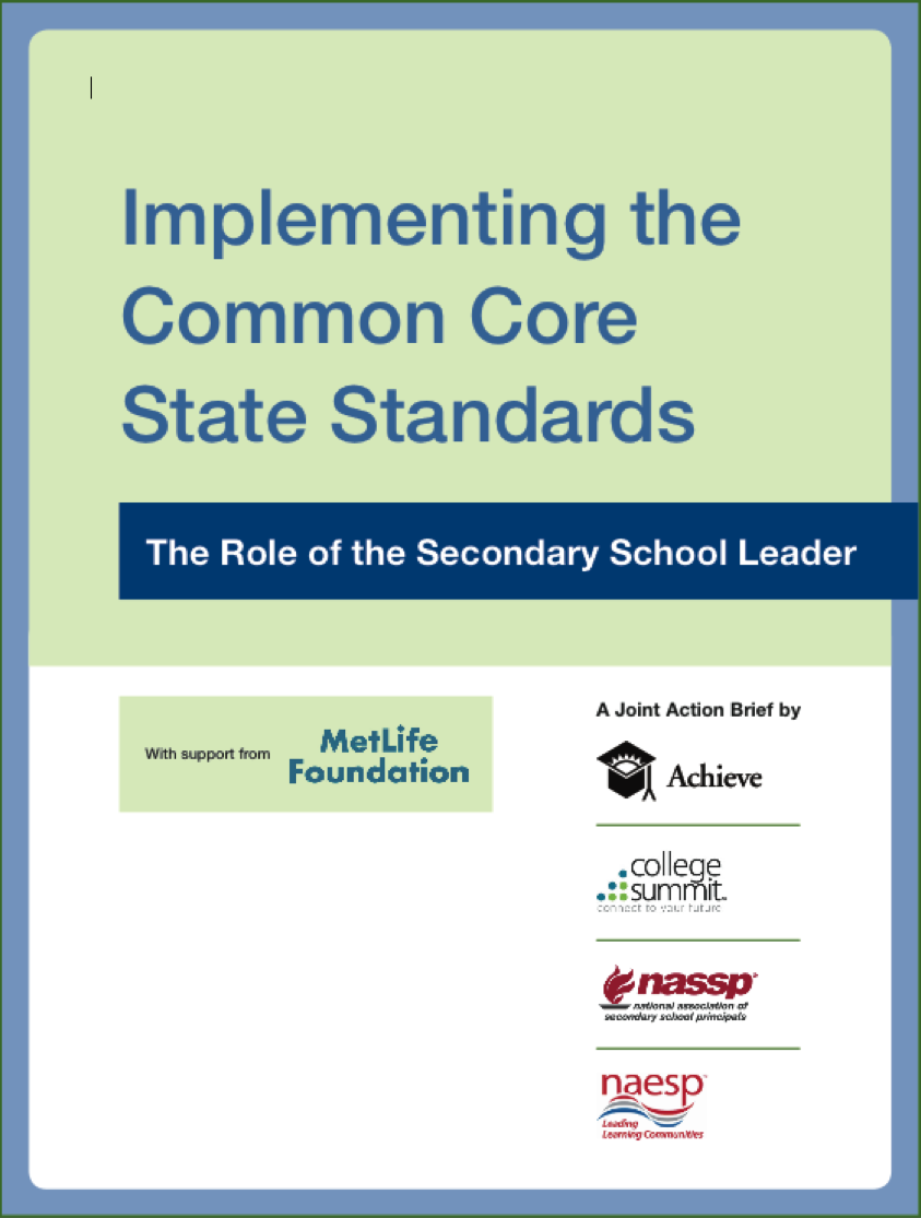 Implementing the Common Core State Standards: The Role of the Secondary School Leader Action Brief Cover