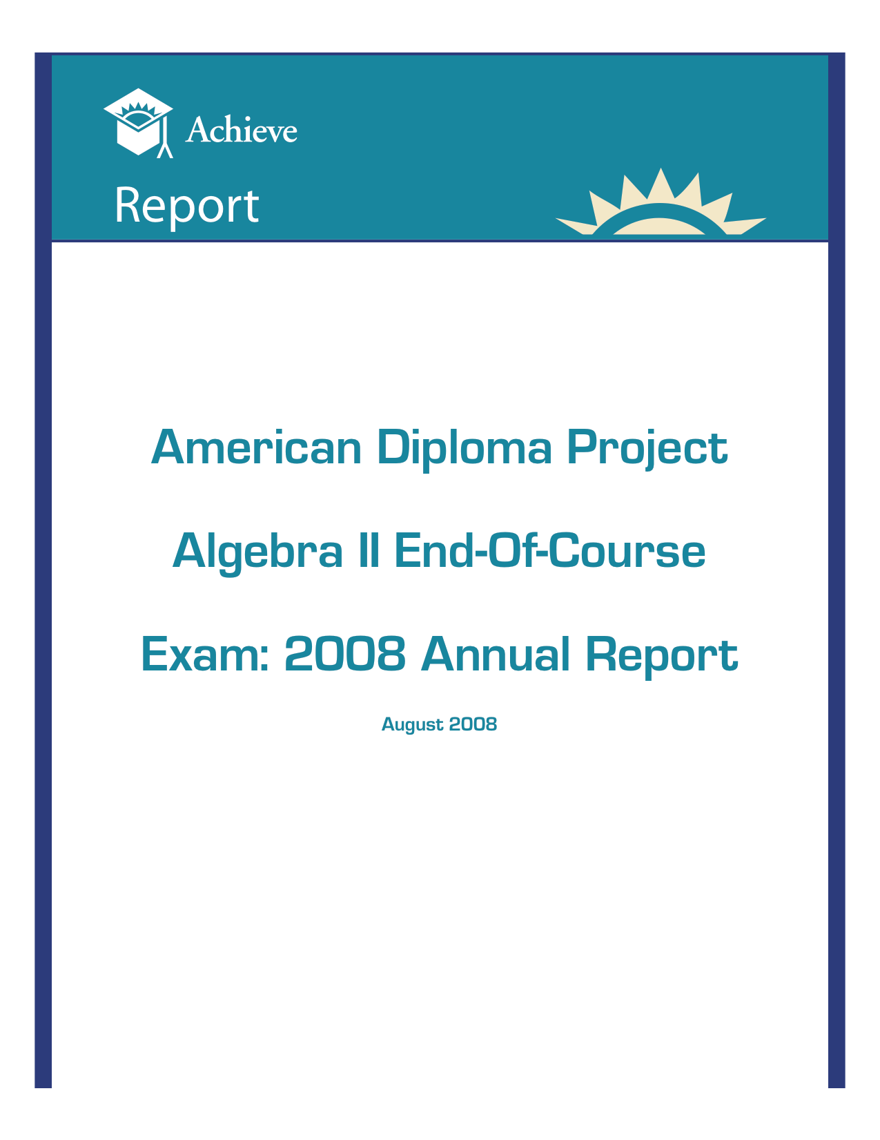 Cover of ADP Algebra II End-Of-Course Exam 2008 Annual Report