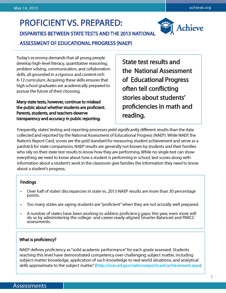 Disparities Between State Tests and the 2013 National Assessment of Educational Progress (NAEP)