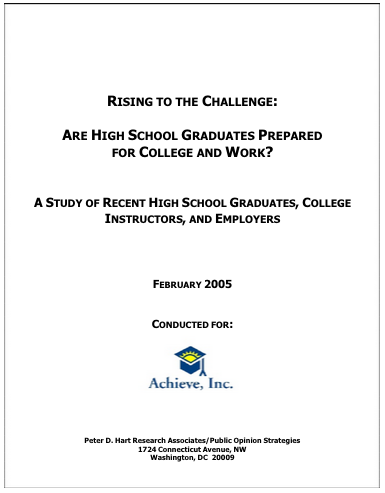 Rising to the Challenge: Are High School Graduates Prepared for College and Work?